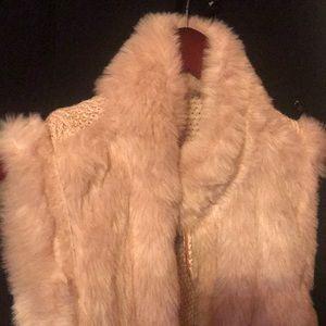 Bagatelle faux rabbit fur reversible vest.